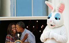 U.S. President Barack Obama kisses first lady Michelle Obama at the annual White House Easter Egg Roll on the South Lawn April 21, 2014 in Washington, DC. President Obama and the first lady hosted thousands of children for the annual White House event dating back to 1876 that features live music, sports courts, cooking stations, storytelling, as well as the Easter egg roll this year. (Photo by Win McNamee/Getty Images)  via @AOL_Lifestyle Read more…