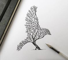 Poetic Surreal Black Ink Pen Illustrations