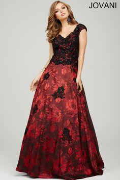 Красный жаккардовый втулки крышки платья выпускного вечера 20615 - Вечерние платья