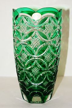Ajka Emerald Green Cased Cut to Clear Hungarian Lead Crystal Vase | eBay