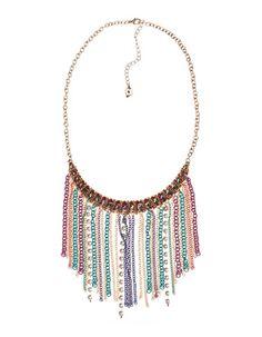 Collar flecos cadenas multicolor