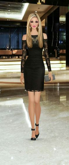 Precioso Vestido Negro Black Dress Outfits, Sexy Dresses, Short Dresses, Fashion Dresses, Covet Fashion, Fashion Art, Fashion Looks, Womens Fashion, Fashion Design