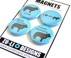 Border Collie Magnet Set - Blue and Black