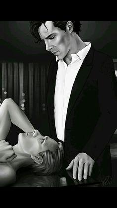 Johnlock black and white [Suit!sherlock and naked!john]