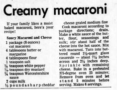 Clipping found in Battle Creek Enquirer in Battle Creek, Michigan on Apr Creamy Macaroni And Cheese, Macaroni Cheese Recipes, Baked Macaroni, Pasta Recipes, Cooking Recipes, Veg Recipes, What's Cooking, Potato Recipes, Cooking Ideas