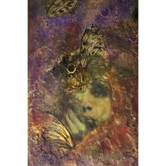 Some of She Still Left abstract art Evelyn Nesbit bohemian contemporary gold art purple painting of woman mixed media encaustic (€88) found on Polyvore