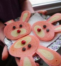 Bunny Pancakes are so adorable and the kids will just love making them with you.  Made with buttermilk pancakes mix, food coloring and candies.