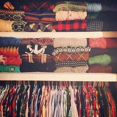 Perfection...organizing your sweaters & flannels. --Sweaters actually lose their shapes when they are placed on hangers...folding them properly will help make them last longer.