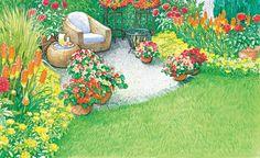 Jeder Mensch hat ein natürliches Schutzbedürfnis. Deshalb lässt man sich nicht gerne im Garten mitten auf dem Rasen nieder. Ein Sichtschutz zum Nachbarn muss sein und möglichst auch eine schöne Bepflanzung am Sitzplatz. Wir zeigen Ihnen, wie man ein kahles Stück Rasen an der Grundstücksgrenze in einen heimeligen Sitzplatz verwandelt. – Zwei Vorschläge von uns mit Pflanzlplänen als PDF