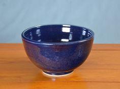 Large Blue Serving Bowl, Hand Thrown Porcelain Pottery, Ceramic Serving Bowl, Large Salad Bowl, Mixing Bowl | Caldwell Pottery