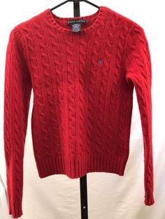 8fffe8f7b Ralph Lauren Cashmere Wool Sweater Women s Medium Italian Yarn Red Slim Fit