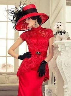 Lady in Red. A photograph of a beautiful woman wearing an elegant red dress and hat with black feathered accessories. Red Fashion, Fashion Beauty, Vintage Fashion, Royal Fashion, Vintage Style, Look Retro, Fancy Hats, Kentucky Derby Hats, Glamour