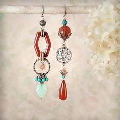 Tribal Queen earrings in green quartz laiton, half circle, half moon, geometric, fantasy, raw, metal, boho, gift idea