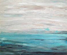 "Beach Seascape Painting Aqua Gray Black White 24"" x 20"" Canvas - $125.oo Etsy seller - TracyHallArt"