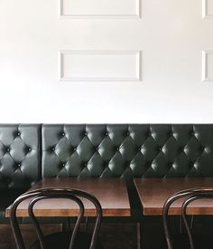 Muted tufts and wood tones, the perfect setting for soft serve. via mwalterdesign Hotel Interiors, Soft Serve, Couch, Wood, Hospitality, Furniture, Restaurant, Home Decor, Settee