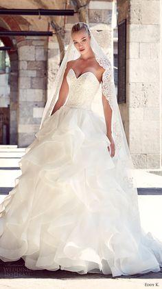 eddy k milano bridal 2017 strapless sweetheart tiered skirt ball gown wedding dress (md208) mv -- Eddy K. 2017 Wedding Dresses