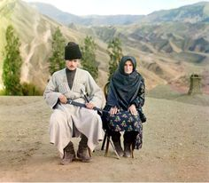 A Dagestani man and woman, the region is the North Caucasus mountains at the southernmost part of Russia, circa 1905 – 1915.