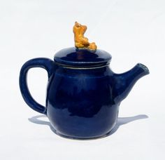 Cobalt Blue Teapot with Golden Teddy Bear knob  by muddywaterscc