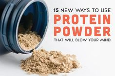 15 New Ways to Use Protein Powder That Will Blow Your Mind Most people think of protein powder as something you shake up with water and chug down after a workout. And while they're great for that, there are so many other ways to use it. Healthy Protein Snacks, Protein Cake, Low Carb Protein, Protein Shake Recipes, Best Protein, Protein Cookies, Protein Foods, Protein Muffins, Protein Pizza