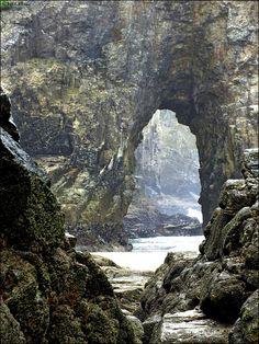 Sea caves at Perranporth, Cornwall, UK