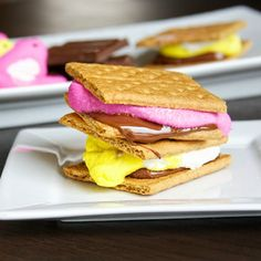 S'mores become even more fun when a brightly colored Peep is used in place of a plain-Jane marshmallow.