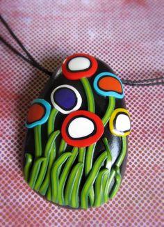 Poppy field handmade pendant
