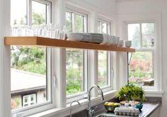 trendy kitchen window over sink open shelving cabinets Kitchen Shelf Design, Kitchen Window Shelves, Kitchen Windows, Kitchen Sink, Open Kitchen, Kitchen Plants, Kitchen Storage, Kitchen Cupboard, Dutch Kitchen