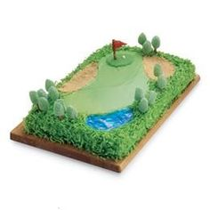 Made This Golf Course Cake For My Little Man Who Turns 4 On Sunday And Loves Golf!:)