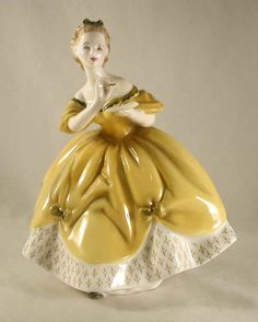 "Vintage Bone China Colorful English Royal Doulton Figurine Woman in Yellow Dress ""The Last Waltz"" H.N. 2315 COPR. 1965"