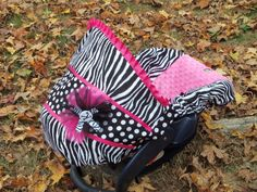 Zebra and Dots Hot Pink Minky baby car seat by Pinkbanditbaby2