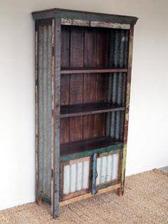 I WANT THIS SOOOOO BADLY!!!  Recycled Timber & Corrugated Iron Bookcase