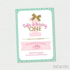 Printable Glitter Bow Invitation - One Year Old Birthday - First Birthday on Etsy, $15.00