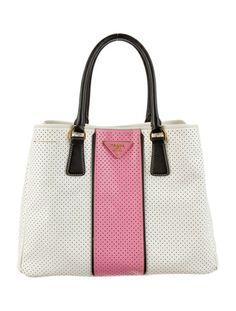 50's chic with this Prada Perforated Handle Bag.