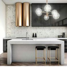Modern Kitchen Design Modern Kitchen Lighting Ideas - The kitchen is the proud domain of every housewife and this is the place where she spends a good part of her daily life. With prices of real estate Modern Kitchen Lighting, Modern Kitchen Design, Modern House Design, Interior Design Kitchen, Modern Kitchens, Modern Bar, Modern Decor, Luxury Kitchens, Bathroom Lighting