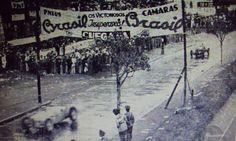 GP RIO DE JANEIRO (GAVEA) 1937 , Auto Union C #4 of Hans Stuck (Second place) followed by Alfa Romeo 12C-36 #34 of Antonio Brivio (Third place) receives the chequered flag
