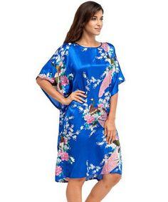 High Quality Chinese Women Silk Home Dress Robe Summer Lounge Nightshirt  Short Sleeve Sleepwear Nightgown Plus 73eefbd6f