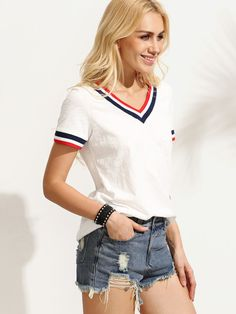 Shop White Striped Trim V Neck Short Sleeve T-shirt online. SheIn offers White Striped Trim V Neck Short Sleeve T-shirt & more to fit your fashionable needs. Outfits For Teens, Trendy Outfits, Fashion Outfits, Trendy Clothing, Fashion Fashion, Fashion Women, Fashion Ideas, Women's Clothing, Vintage Fashion
