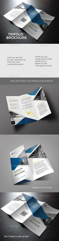 Creative Trifold Brochure Template InDesign INDD. Download here: http://graphicriver.net/item/creative-trifold-brochure/15894176?ref=ksioks