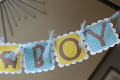 It's A Boy Custom Banner  Blue Yellow Brown  by sweetshoppepaperie, $20.00