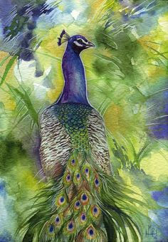 His Majesty by wolf-minori on DeviantArt Painting & Drawing, Watercolor Paintings, Watercolors, Phoenix, Sculpture Art, Sculptures, Peacock Art, Grumpy Cat, Animal Paintings