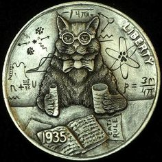 HOWARD THOMAS HOBO NICKEL - NUCLEAR PHYSI-CAT - 1935 BUFFALO NICKEL