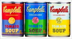 """ok now this is cool: """"To celebrate the anniversary of Andy Warhol's 1962 famed work, 32 Campbell's Soup Cans, Campbell Soup Co. is introducing limited-edition cans of Campbell's Tomato soup with labels derived from original Warhol artwork. Andy Warhol Obra, Andy Warhol Soup Cans, Campbell's Soup Cans, Pop Art, Campbell Soup Company, Limited Edition Packaging, Edition Limitée, Arte Pop, 50th Anniversary"""