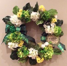 St. Patrick's Day wreath with hydrangeas