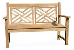 "Teak 4' Chippendale Bench (48""W x 27""D x 37""H; seat height 19"") on OneKingsLane.com"