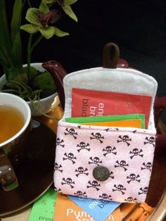 Tea Bag Travel Wallet  Skulls on Pink by OneMarkCreations on Etsy, $9.95