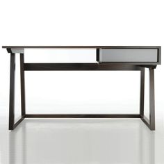 This desk has low mass because its very small looking and doesn't look like it would take up a lot of space. It also looks physically light.