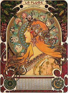 Zodiac for La Plume magazine, by Alphonse Mucha 1896. Beautiful Slav/bohemian art.