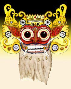 Mythology Barong Bali Lion Demon Spirit 8x10 art print by seabelly, $13.00