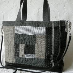 Black Hand Quilted purse, Sashiko, Log cabin quilt, Linen Leather black handbag by HobbsHillQuilts on Etsy