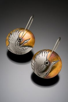 Dancing Cranes Lentil Earrings.... fine silver and 24k gold...